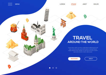 Travel around the world - colorful isometric web banner with copy space for text. Website header with famous landmarks, Statue of Liberty, windmill, Torii, pyramids, Hamburg city hall, Parthenon, Pisa