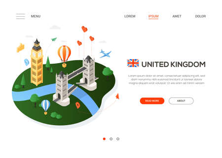 Visit the United Kingdom - modern colorful isometric web banner