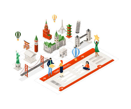 Time to travel - modern colorful isometric illustration with famous landmarks, tourists with maps and tickets. Statue of Liberty, Kremlin, Eiffel and Pisa towers, St Mark Campanile, pagoda, Torii  イラスト・ベクター素材