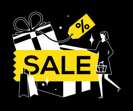 Sale concept - flat design style vector illustration. High quality black, white and yellow composition with a woman with shopping basket, gifts, percentage label. Discount, special offer concept