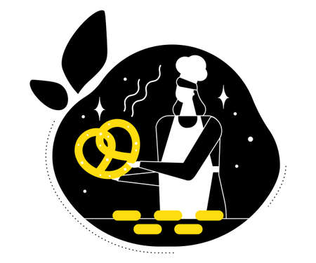 Bakery - modern vector flat design style illustration. High quality black, white and yellow composition with a female worker, baker in an apron and a hat holding a big pretzel, images of cakes, buns Иллюстрация