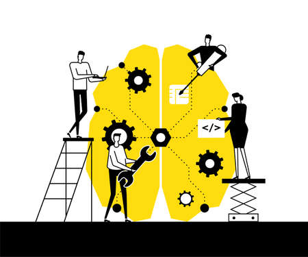 Artificial intelligence - flat design style vector illustration. Black, white and yellow composition with male, female programmers fixing a big brain with a wrench, screwdriver, working at the laptop 矢量图像