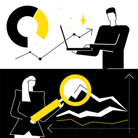 Data analysis, statistics - flat design style illustration. Black, yellow and white composition with business man, woman gathering results, processing information, analytics, laptop, magnifying glass  イラスト・ベクター素材