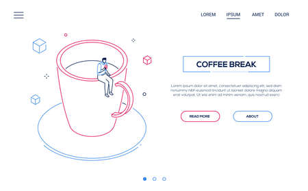 Coffee break - line design style isometric web banner on white background with copy space for text. Header with businessman, office worker sitting on a big cup, eating a donut, relaxing, having lunch Banco de Imagens - 124341481