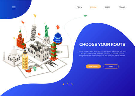 Choose your route - colorful isometric web banner with copy space for text. Website header with famous landmarks. Statue of Liberty, Big Ben, Temple of Heaven, Taj Mahal, Cologne, Florence Cathedrals  イラスト・ベクター素材
