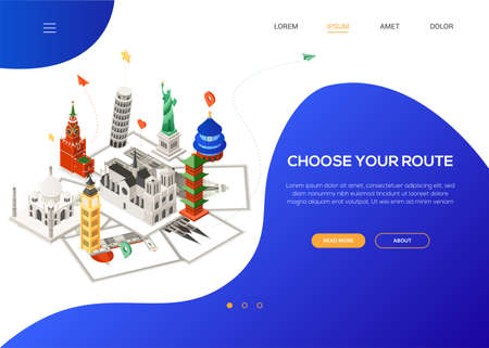 Choose your route - colorful isometric web banner 일러스트