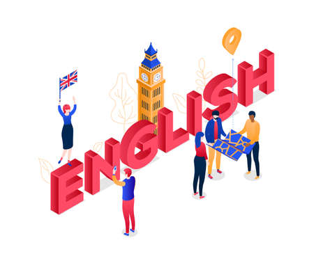 English language - modern colorful isometric vector illustration on white background. A composition with Big Ben, cute characters with a map, flag of the UK, taking pictures. Education, travel concept