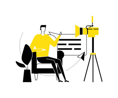 Video blogger - flat design style vector illustration. High quality black, white and yellow composition with a creative man streaming online in front of the camera, sitting on a chair, talking Illustration