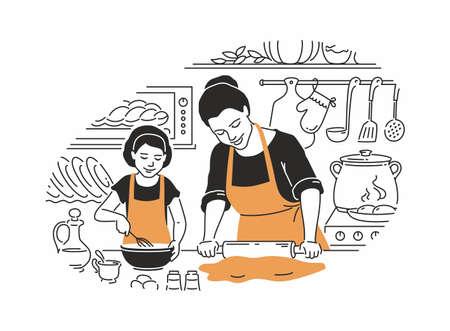 Moeder en dochter koken - moderne vectorillustratie in lijnontwerpstijl met kleuraccenten. Jonge ouder met een deegroller, deeg maken, een meisje met een garde, een cake bereiden in de keuken