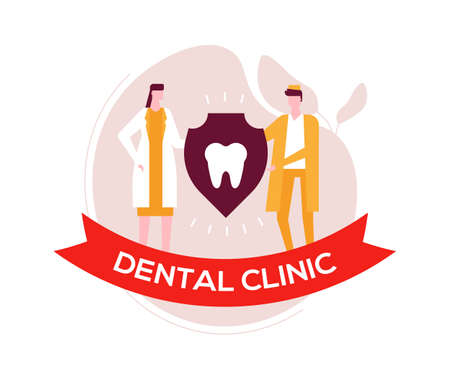 Dental clinic - colorful flat design style illustration on white background. A composition with dentists in overall, male, female specialists holding a shield with a tooth. Healthcare concept 向量圖像
