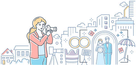Professional photography - colorful line design style illustration on white background. Quality header with a girl with a camera taking pictures of a wedding, urban landscape, equipment
