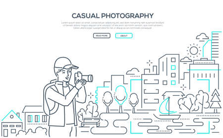 Casual photography - line design style web banner 일러스트