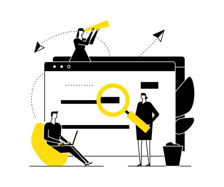 Search concept - flat design style vector illustration. Black, yellow and white composition with male, female colleagues standing around web page with magnifying glass, spyglass, working with laptop