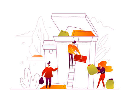 Recycling - modern colorful flat design style illustration with linear elements on white background. A composition with male, female characters sorting waste, dropping litter into the bin. Eco concept Çizim