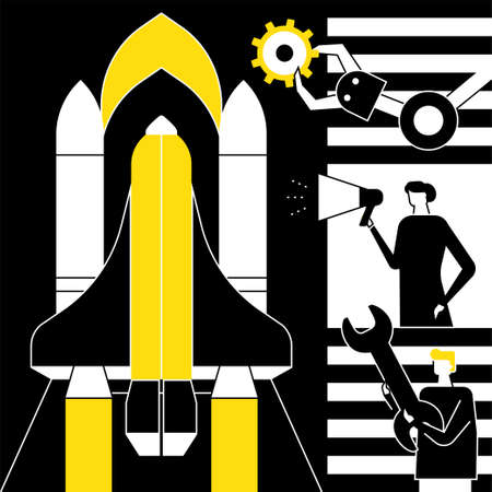 Startup - flat design style conceptual vector illustration. Black, yellow and white composition with male, female colleagues launching the project, mechanic arm, wrench, megaphone. Innovation concept