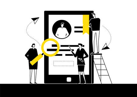 HR management - flat design style vector illustration. Black, yellow, white composition with male, female managers choosing the best candidate, looking at CV, resume on smartphone screen. Recruitment