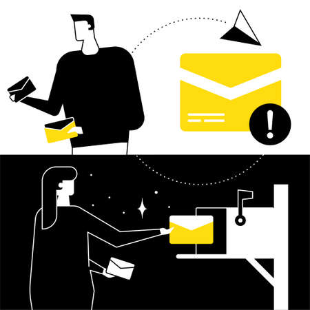 Email marketing - flat design style vector illustration. Black, yellow and white composition with a man and woman, receiving and sending letters, mail box image, notification, paper plane signs Illustration