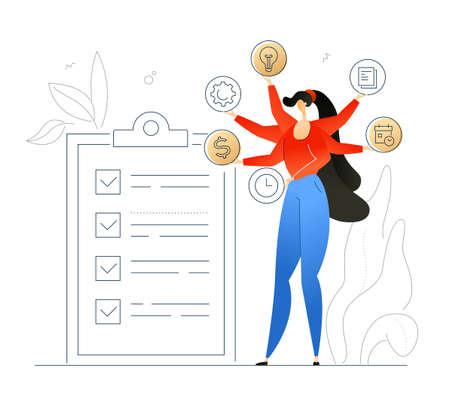 Gestión de tareas - ilustración colorida de estilo de diseño plano