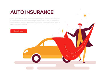Auto insurance - colorful flat design style web banner Illustration