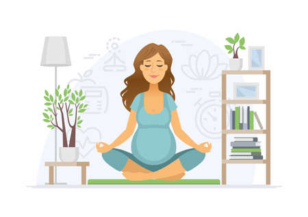 Pregnancy yoga - modern vector cartoon people characters illustration on white background. Colorful composition with a woman expecting a baby, meditating in lotus position at home. Healthcare concept
