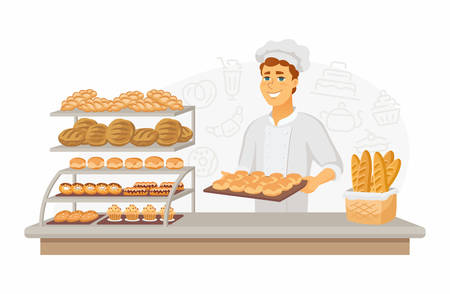 Bakery - modern vector cartoon people characters illustration
