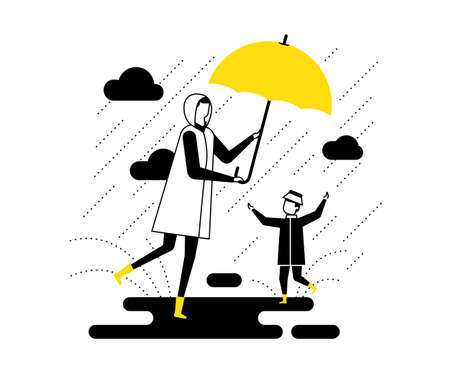 Rainy day - flat design style vector illustration. High quality black, yellow and white composition with a mother and a child walking with an umbrella, a boy slopping about in puddles. Weather concept