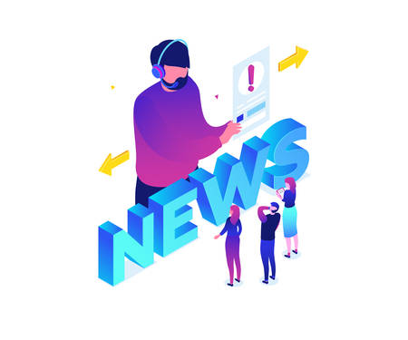 News concept - modern colorful isometric vector illustration on white background. Quality composition with a male reporter, journalist in headset, men, women, public listening. Communication concept Ilustrace