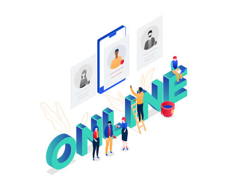 HR management - modern colorful isometric vector illustration on white background with online inscription. An image of male, female managers choosing a candidate, looking at CVs on smartphone screen
