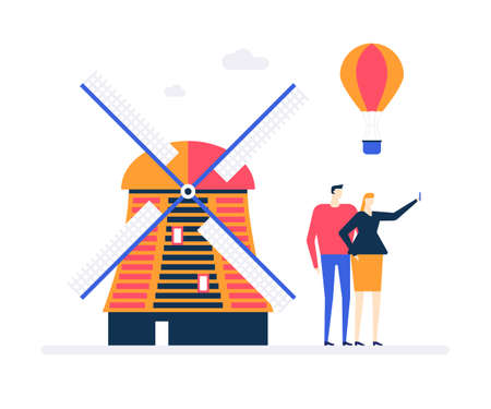 Travel to Netherlands - colorful flat design style illustration on white background. A composition with a couple making selfie with Holland windmill, hot air balloon. Vacation and tourism concept Ilustração