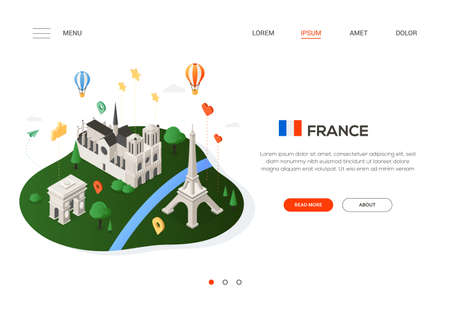 Visit France - modern colorful isometric web banner with copy space for text. Website header with famous French landmarks, balloons and map pointers. Triumphal arch, Eiffel tower, Notre-Dame de Paris