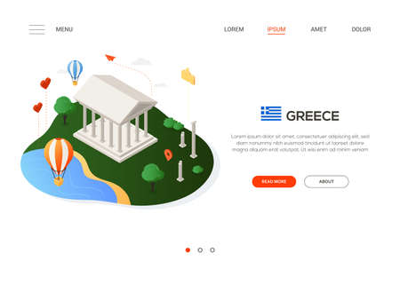 Visit Greece - modern colorful isometric web banner