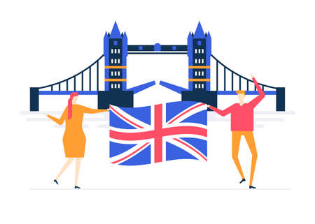 Visit the UK - colorful flat design style illustration on white background. A composition with male, female tourists holding an English flag, image of a Tower bridge. Traveling and tourism concept 일러스트