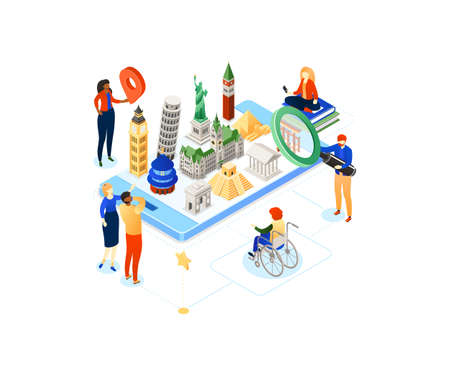 Travel around the world - colorful isometric illustration with famous landmarks on smartphone screen, tourists. Statue of Liberty, Pisa tower, Torii, Hamburg hall. Mobile app for planning vacation Illustration