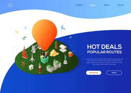 Hot deals, popular routes - colorful isometric web banner with copy space for text. Website header with world famous landmarks, tourists flying on a balloon. Statue of Liberty, Eiffel tower, Kremlin