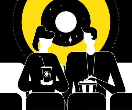 映画館でカップル - フラットなデザインスタイルのイラスト