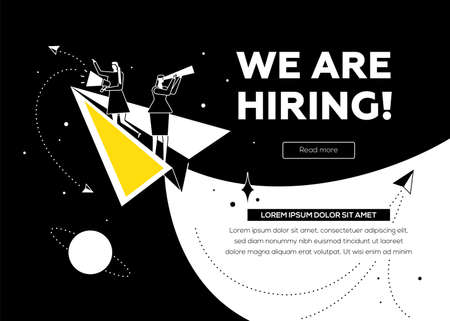 We are hiring - flat design style colorful illustration