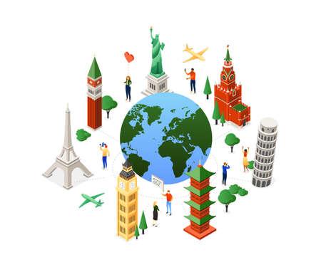 Travel around the world - colorful isometric illustration