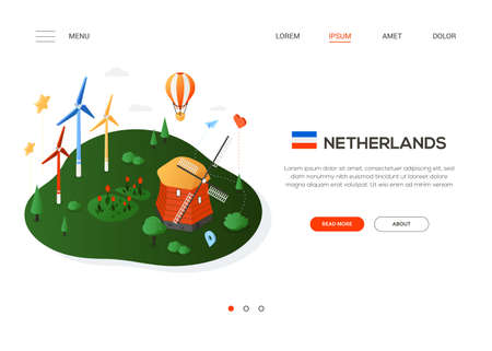 Visit the Netherlands - modern colorful isometric web banner