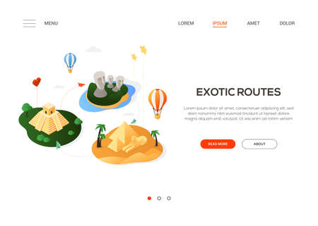 Exotic routes - modern colorful isometric web banner