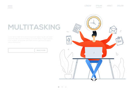 Multitasking - flat design style colorful web banner