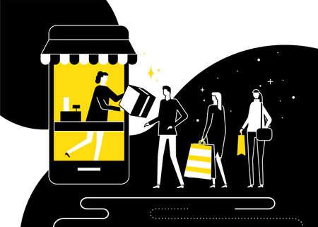 Shopping online concept - flat design style illustration