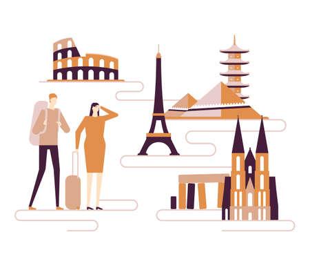 Travel around the world - colorful flat design style illustration