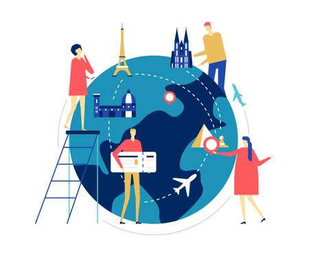 Travel around the world - colorful flat design style illustration