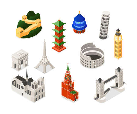 World famous landmarks - colorful isometric set of objects