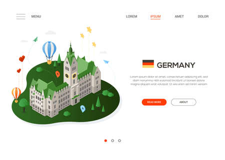 Visit Germany - modern colorful isometric web banner