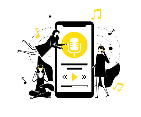 Listening to music - flat design style illustration