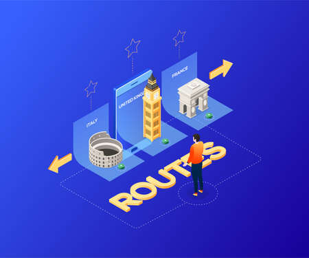 Choose your route - modern colorful isometric illustration. A male tourist thinking where to go on vacation, Italy, the UK or France. with landmarks, architecture. Colosseum, Big Ben, Triumphal arch Illustration