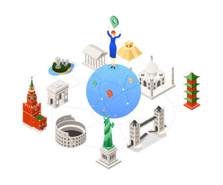 Travel around the world - colorful isometric illustration
