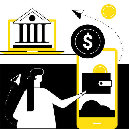 Online banking - flat design style vector illustration
