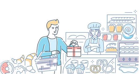 Bakery shop - colorful line design style illustration  イラスト・ベクター素材